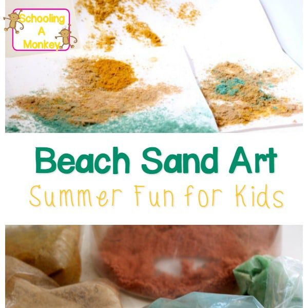 Need summer learning activities for kids? These sand paintings are the perfect way to make beach sand art. Sand art for kids is messy play at its best.
