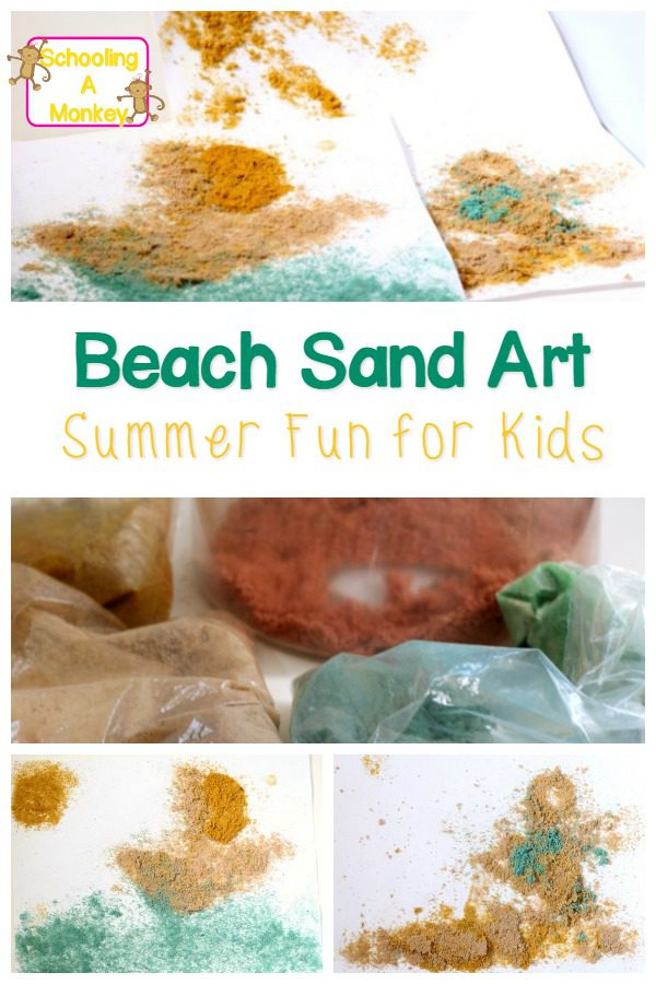 Easy sand painting for kids! Just 2 ingredients and you can make beautiful sand paintings with kids using real beach sand!