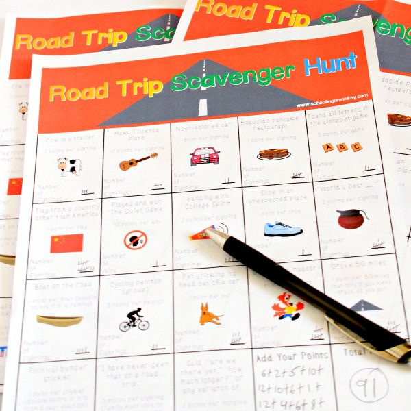 Road Trip Scavenger Hunt Game