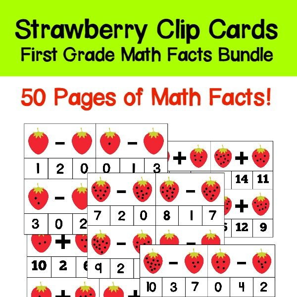 Students will love practicing their addition and subtraction facts with this set of strawberry-themed first grade math facts clip cards. All basic math facts from 0-10 are included!Also included are blank cards so you can create your own math facts clip cards. 50 pages of math fact fun!