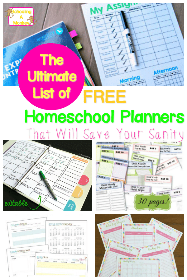 photograph about Free Printable Planners identified as The Greatest Checklist of Good quality No cost Printable Homeschool Planners
