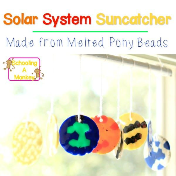 Love planet crafts? This solar system craft transforms melted pony beads into a solar system mobile. Melted pony bead suncatchers will be your new favorite!