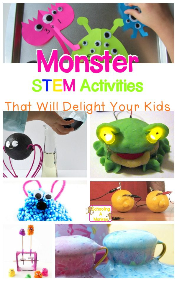 Try these monster science and STEM activities with your kids and bring Halloween fun into the classroom! This is a perfect way to bring Halloween STEM home.