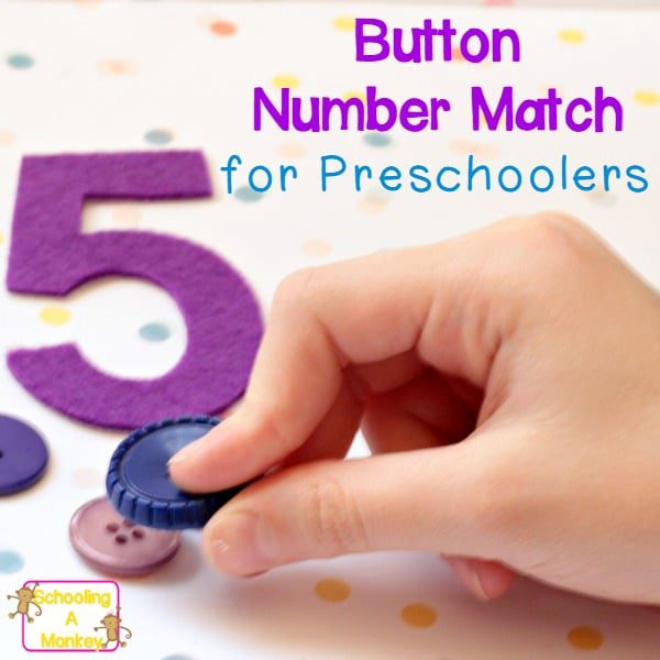 If you are looking for easy preschool activity ideas, you can't go wrong with this super-simple button number match activity!