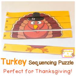 Turkey Alphabet Puzzle Printable for Preschoolers