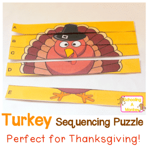 Keep your preschooler occupied this Thanksgiving and help them learn letter sequencing at the same time with this fun turkey alphabet puzzle printable!