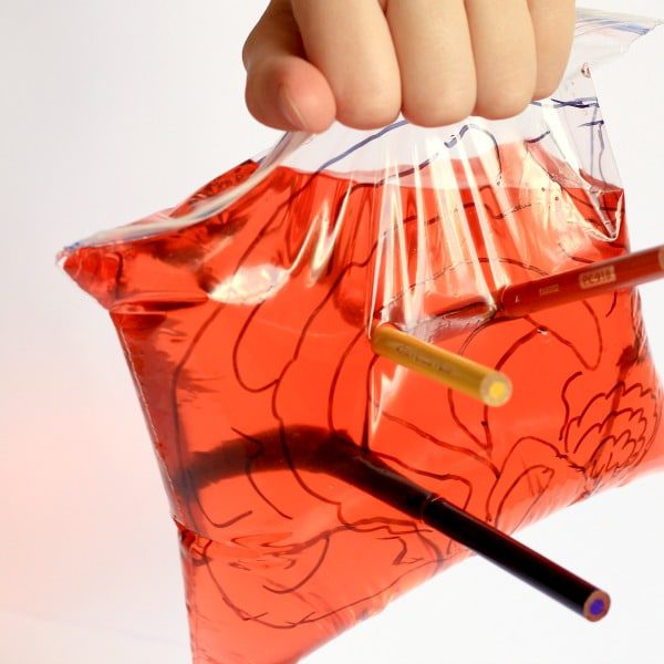 Kids can experience brain surgery with these Halloween science activities with a leak-proof bag science experiment.