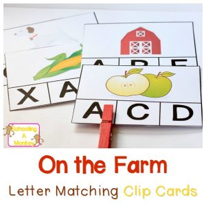 Educational Farm Activities: Letter Matching Clip Cards for Kindergarten