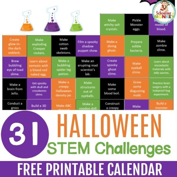 These Halloween science experiments and Halloween STEM activities are the perfect way to learn with the printable Halloween STEM challenge calendar!
