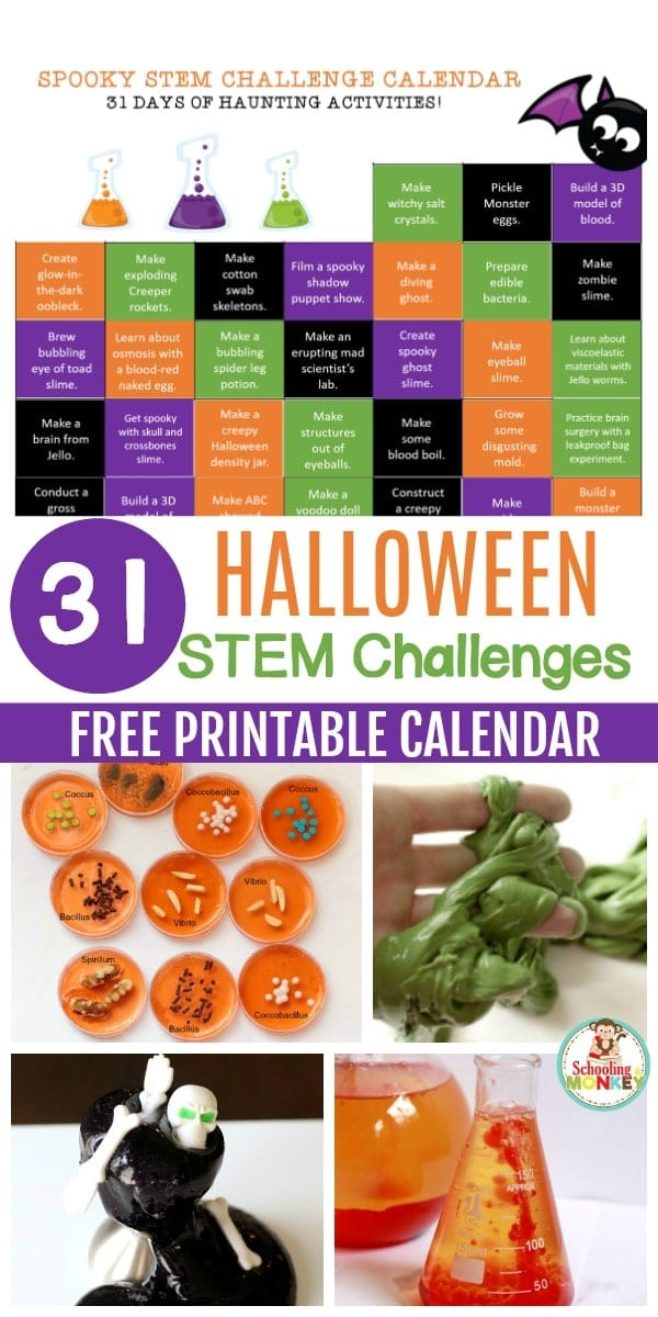 Halloween and STEM combine in this fun and free printable Halloween STEM challenge calendar. Print this calendar for a month of spooky STEM fun!