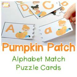 Pumpkin Patch Alphabet Match Puzzle Cards