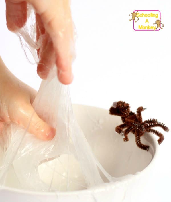 Can you make slime that acts like a spiderweb? With this fun slime experiment, you can! Just two ingredients creates sticky spider silk for hours of fun!