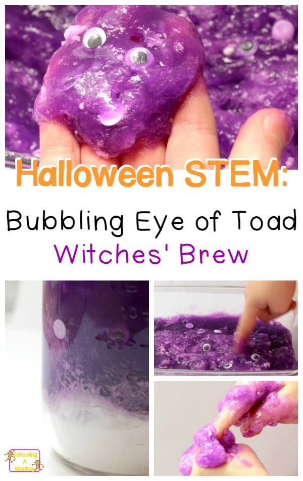 If you're looking for a super-simple Halloween activity to do with your kids, try this slime fun activity and make bubbling eye of toad witches brew!