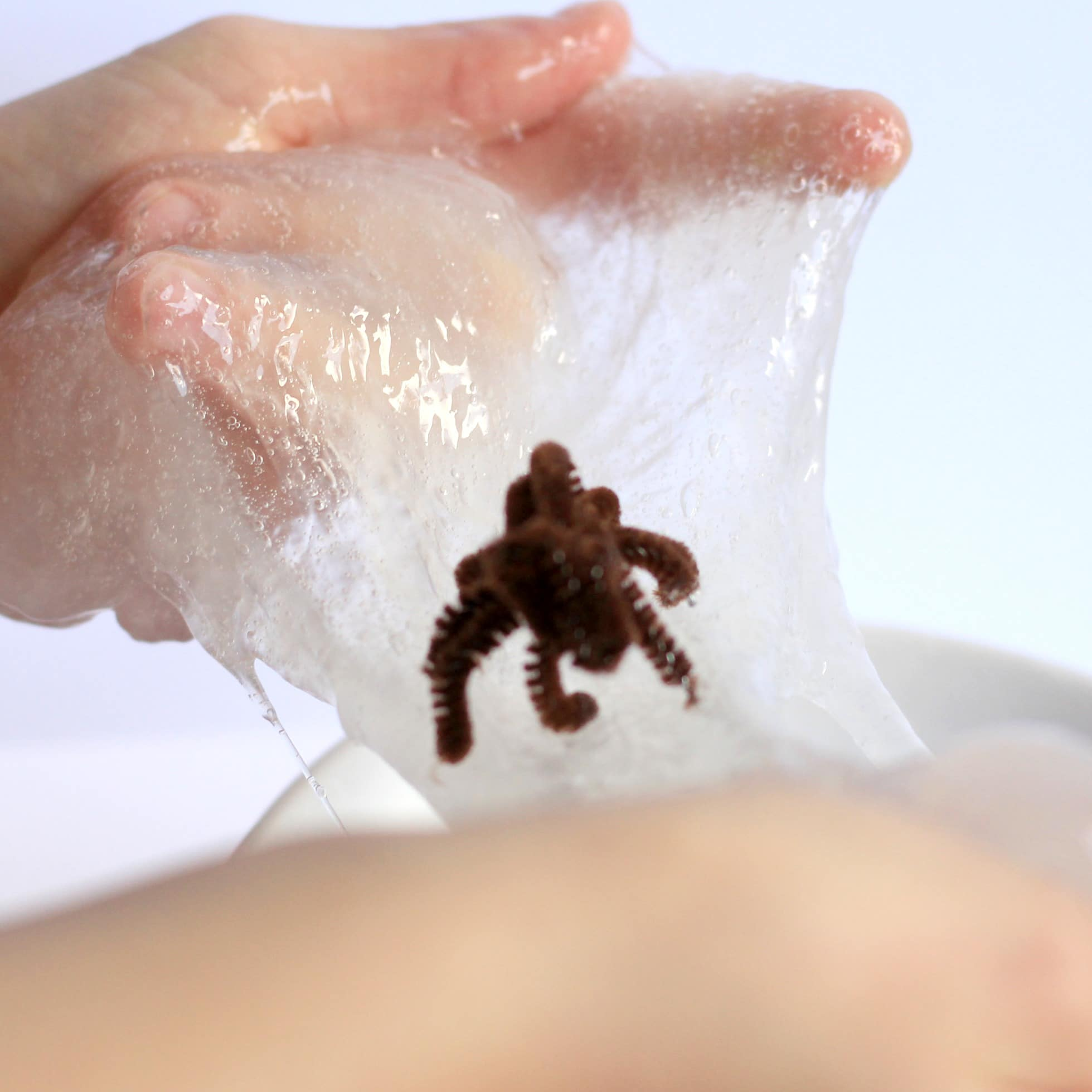Nothing is spookier than this clear spider slime experiment! Perfect for Halloween!