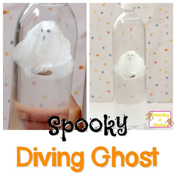 This diving ghost science experiment is a fun twist on the classic cartesian diver science experiment. Spooky science at its best!
