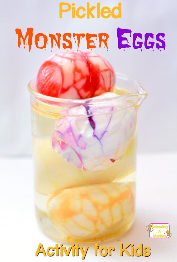 Halloween experiments are the perfect way to introduce science to kids. Make these pickled monster eggs and delight your kids with STEM activities!