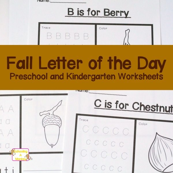 The Fall Letter of the Day Worksheets offer preschoolers and kindergartners a chance to learn new words while practicing letter recognition, sound recognition, and writing skills. The fun fall theme is just an adorable bonus!