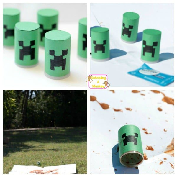 Combine Minecraft with real-world science when you make Creeper-inspired alka seltzer rockets! Your kids will love making their own explosive Creepers.