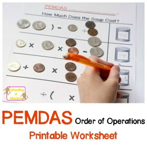 Soup Unit Study: Soup Can PEMDAS Money Worksheet