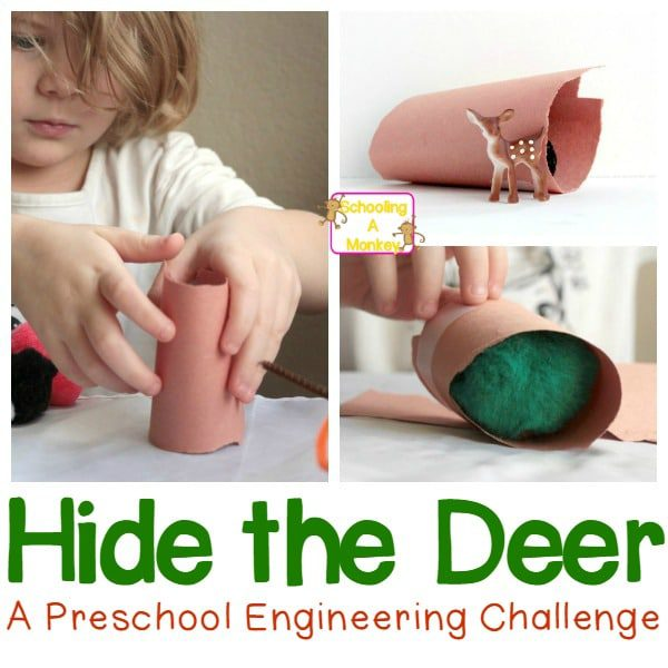 Looking for Christmas ideas for preschoolers? This fun STEM activity challenges preschoolers to come up with a hiding spot for a deer.