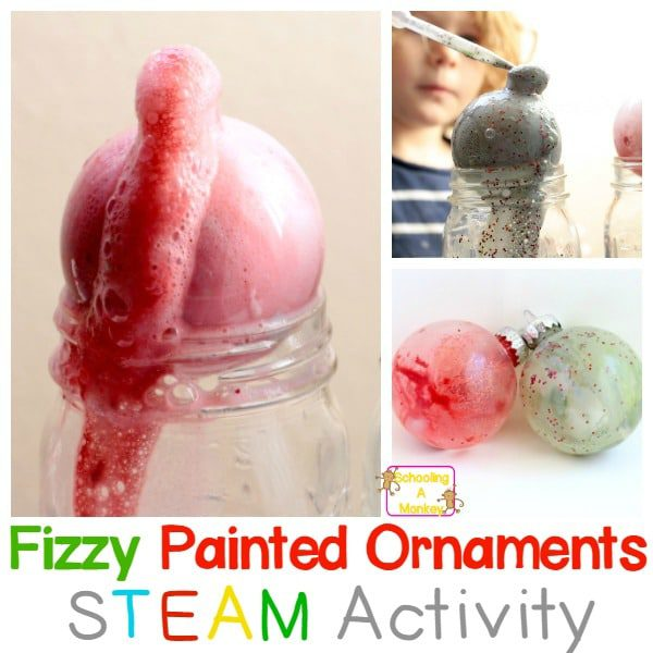 Make your Christmas STEM activities last when you make these fizzy painted Christmas ornaments using baking soda and vinegar chemical reactions.