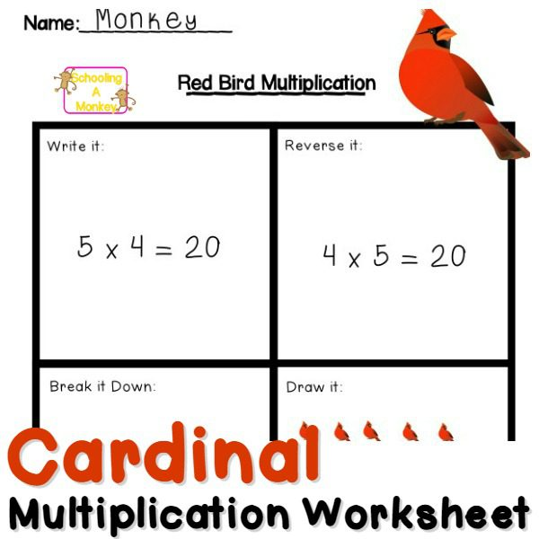 Fun Multiplication Worksheets: Red Bird Multiplication