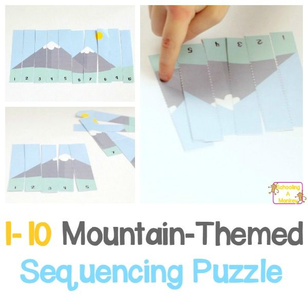 Number sequencing is an important skill for young kids to learn. Make it fun with this mountain-themed sequencing puzzle printable for early learners!