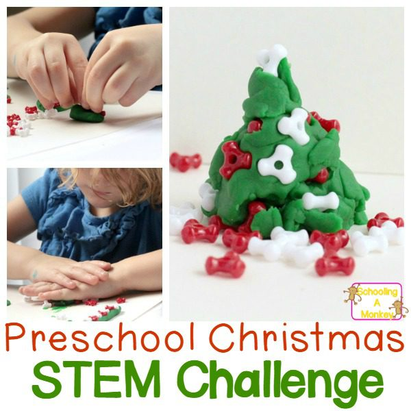 Play Doh Christmas Tree Preschool Engineering Challenge