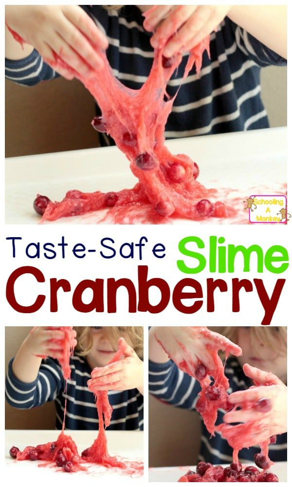 If you love Thanksgiving and cranberries, don't miss this fun way to celebrate with Thanksgiving science! Taste-safe cranberry slime is awesome!