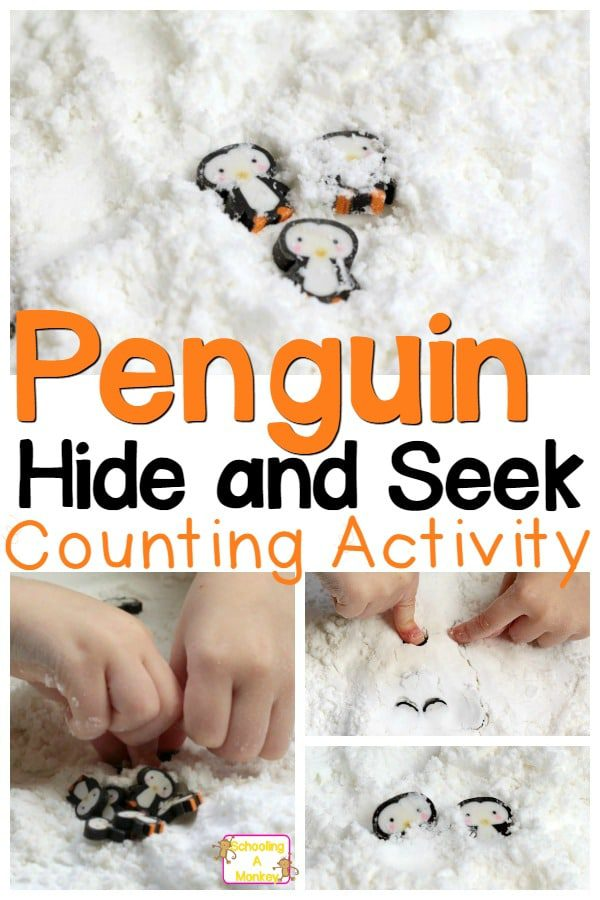 Preschoolers will love these fun penguin preschool activities playing hide and seek with penguins in fake snow. Sensory play and learning!