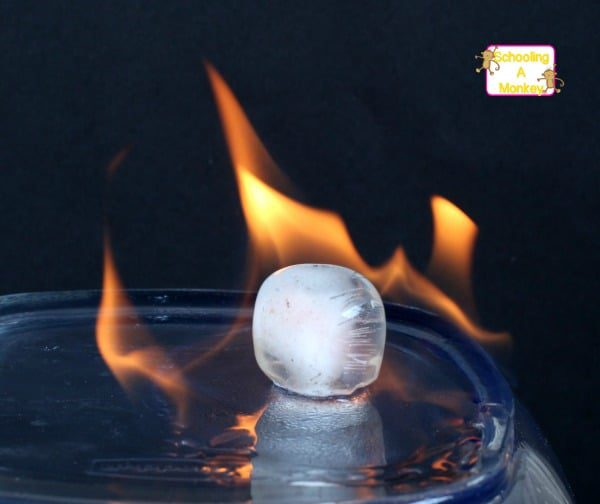 Fire appears to be burning ice in this burning ice experiment