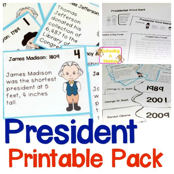 Printable President Worksheets for Kids in 3rd-5th Grade