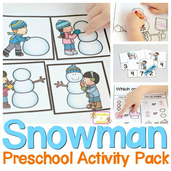 No-Prep Snowman Printables Pack for Preschoolers