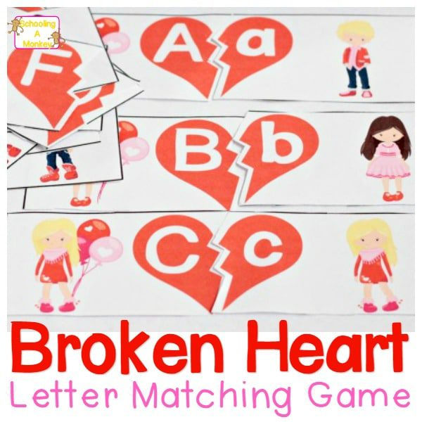 Preschoolers and kindergartners will have fun matching uppercase and lowercase letters in this heart-themed Valentine matching game!