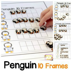 Wintertime Penguin 10 frame Worksheet Perfect for Counting Practice!