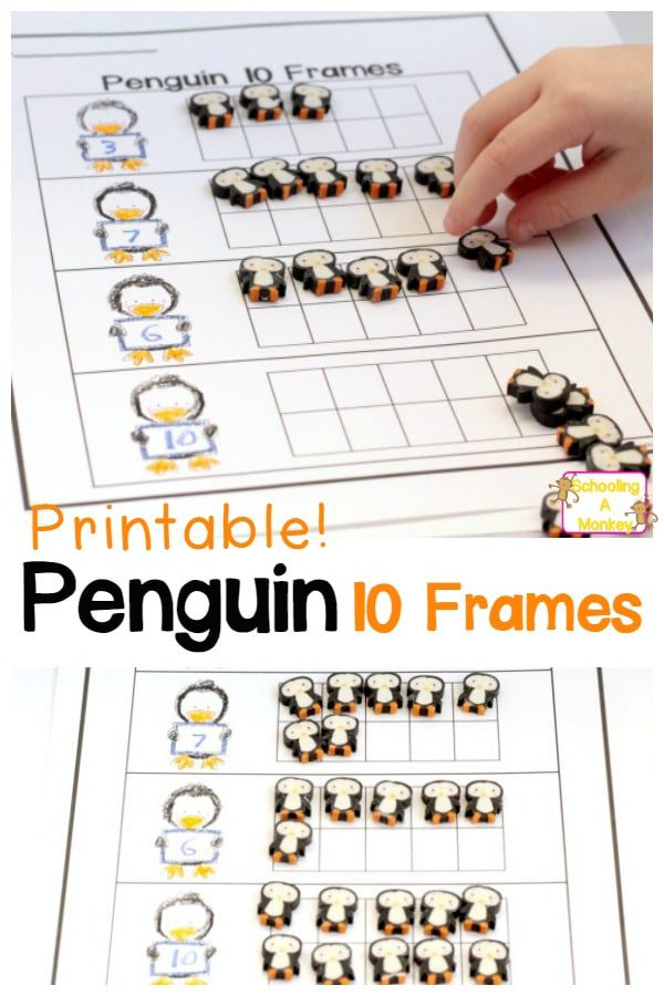 If your kids are working on 10-frames, they will love this fun penguin-themed 10 frame worksheet! Printable, free, and ready-to-go! Just add penguins!