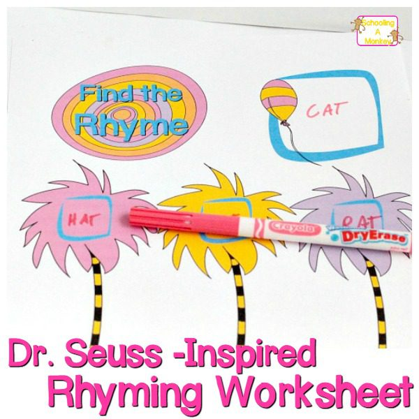 Dr. Seuss Worksheet: Wipe-Away Rhyming Words