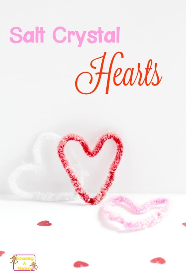 Learn how to make salt crystal hearts with this Valentine's Day twist on salt crystals! It's a fun Valentine's Day science experiment.