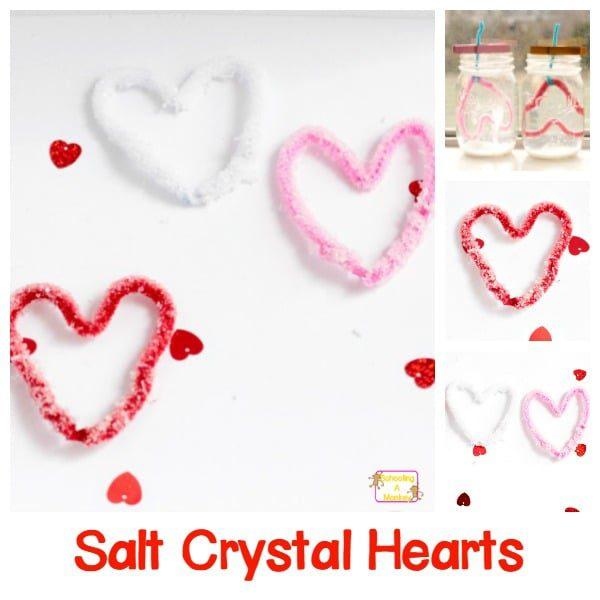 Salt Crystal Hearts Science Experiment