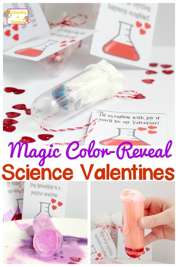 These fun science Valentines are such fun for class valentines, school valentines, or valentines for friends and family! What color will you get?