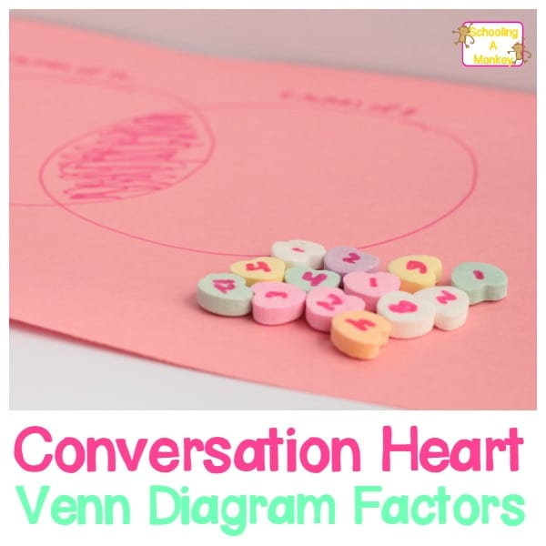 Valentines day conversation hearts venn diagram factors kids can learn common factors between numbers in this super simple valentines day themed ccuart