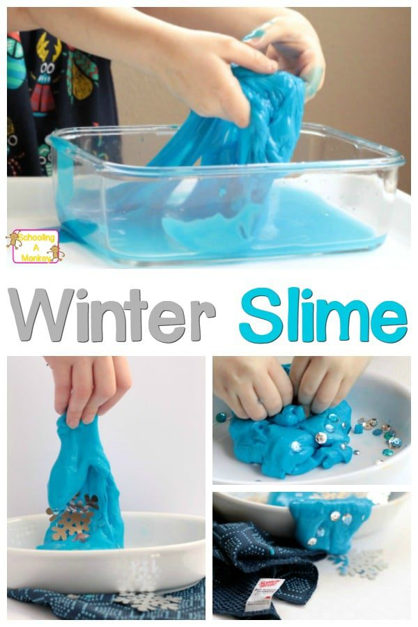 This simple recipe for winter slime is basic, fun, and so simple that kids can make it themselves! The perfect winter boredom buster!
