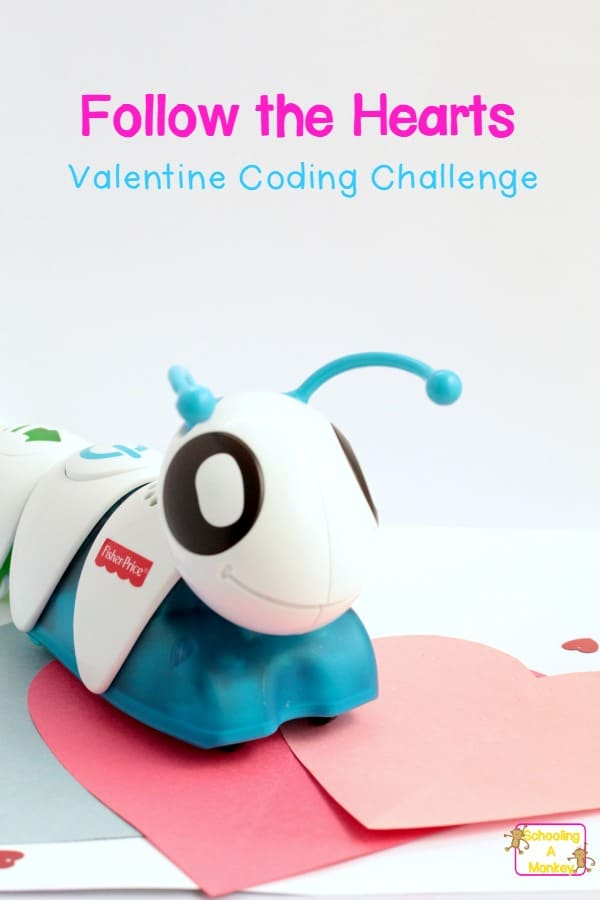 Try this fun technology-themed STEM activity if your kids own a coding caterpillar! This coding caterpillar challenge is filled with Valentine's fun! #valentinesday #kidsactivities #stemactivities #coding