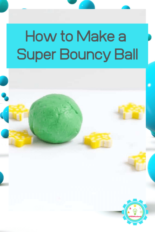 This adorable DIY bouncy ball is Kelley green and a super-fun way to learn how to make a bouncy ball!