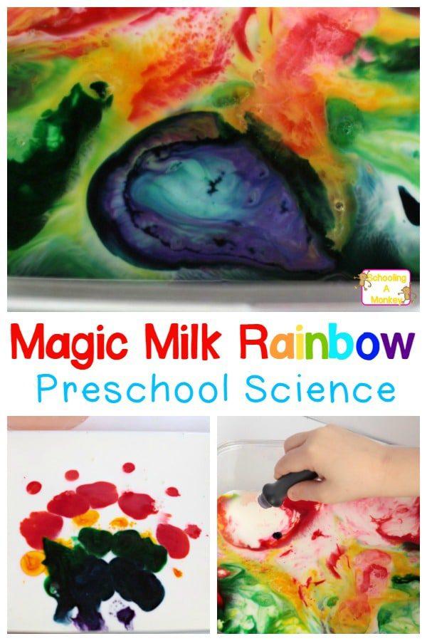 Magic Milk Rainbow Science Experiment for Preschoolers