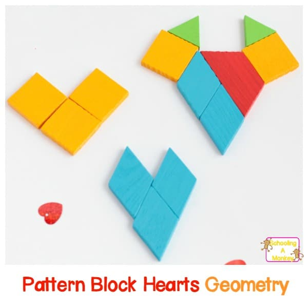 easy geometry for kids pattern block hearts if you love valentine s day and also math then you ll have a blast