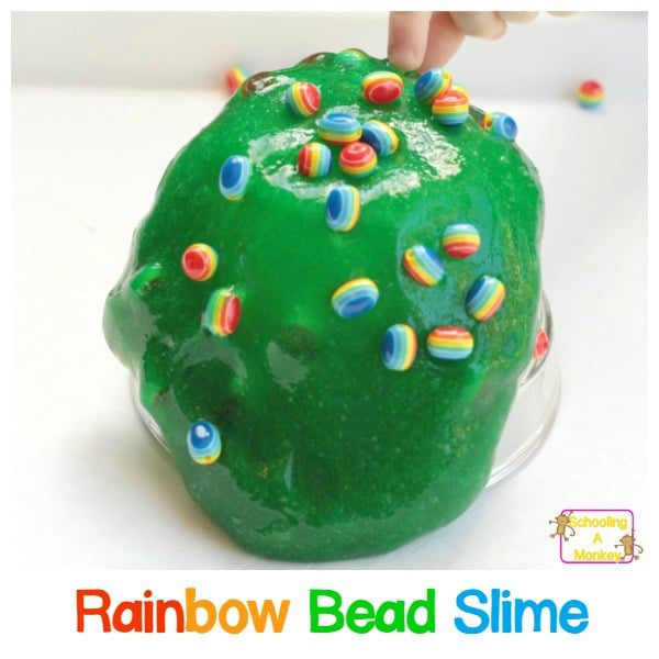 Colorful Rainbow Bead Sensory Slime for Preschool