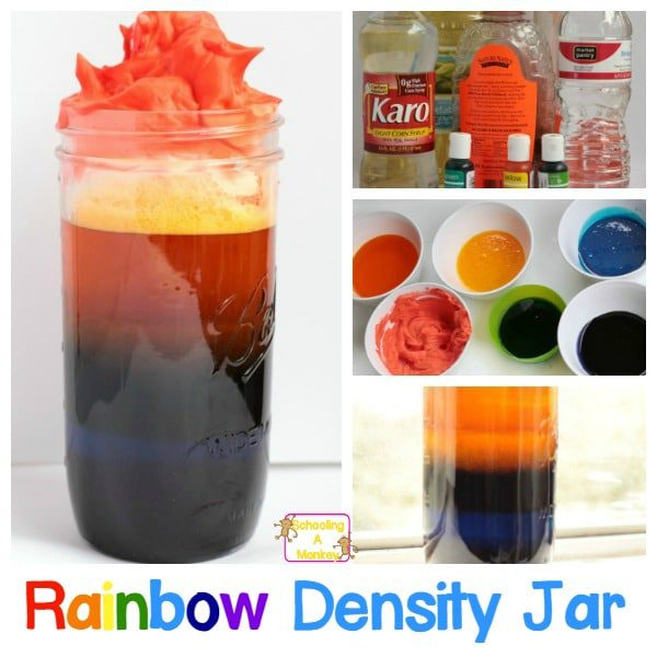 Colorful Rainbow Density Jar Science Experiment for Kids