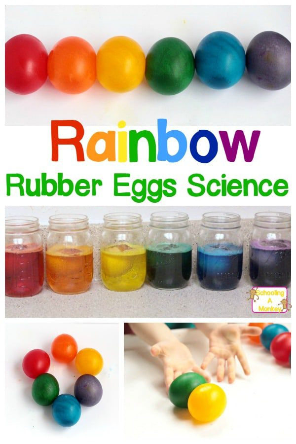 Kids will love this rainbow variation on the classic naked eggs experiment. Don't just make naked rubber eggs, make rainbow rubber eggs! #stemactivities #steamactivities #stemed #easteractivities #handsonlearning #scienceexperiment