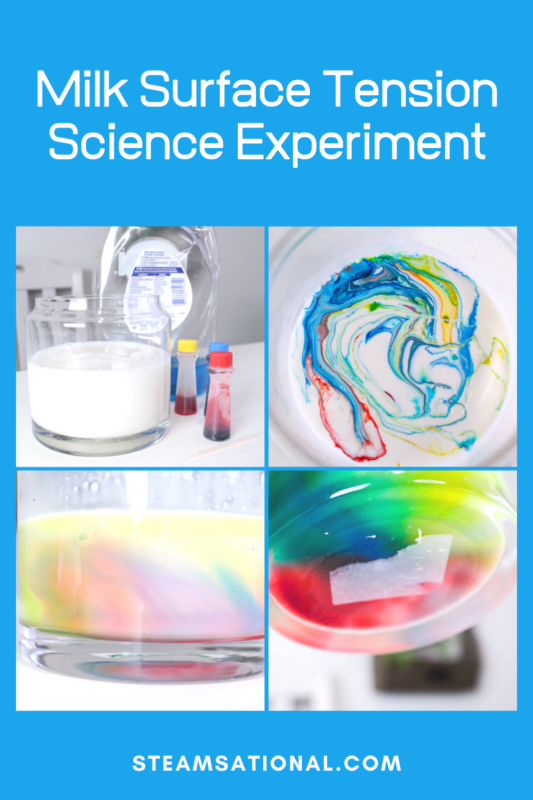 science experiment with milk and food coloring